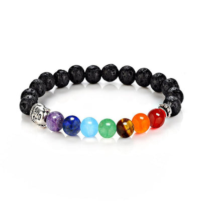 7 Chakra Stones with Silver Buddha Head Charm and Silver Spacer Bracelet Bracelet