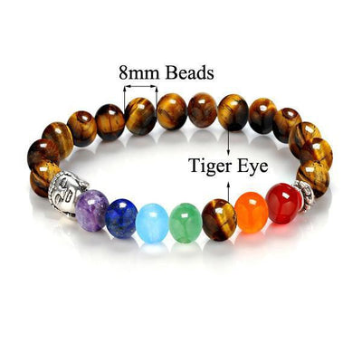 7 Chakra Stones with Silver Buddha Head Charm and Silver Spacer Bracelet Tiger Eye Bracelet