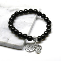 8mm Black Natural Wood Beads Tree of Life Om Bracelet Bracelet