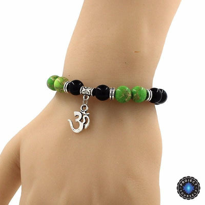 8mm Natural Agate Stone Bracelet with Om Charm Dangle Bracelet