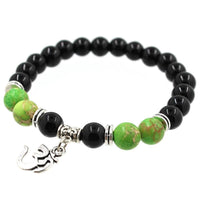 8mm Natural Agate Stone Bracelet with Om Charm Dangle Style  2 Bracelet