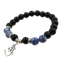 8mm Natural Agate Stone Bracelet with Om Charm Dangle Style 3 Bracelet