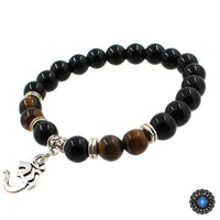 8mm Natural Agate Stone Bracelet with Om Charm Dangle Style 5 Bracelet