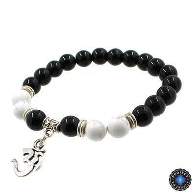 8mm Natural Agate Stone Bracelet with Om Charm Dangle Style 6 Bracelet