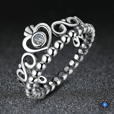 ad8979d041f6e9 925 Sterling Silver My Princess Heart Crown Ring - Project Yourself