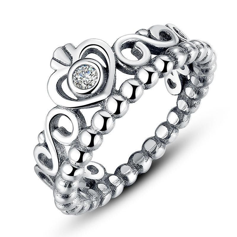 925 Sterling Silver My Princess Heart Crown Ring - Project Yourself