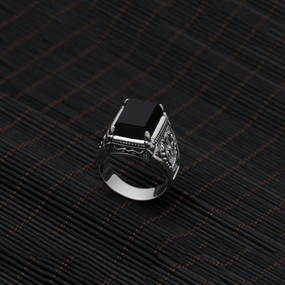 925 Sterling Silver Natural Black Obsidian Ring 10 Rings