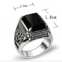 925 Sterling Silver Natural Black Obsidian Ring Rings