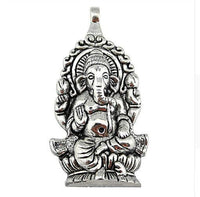 Ganesha Pendant Black Faux Leather Necklace