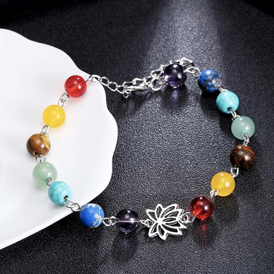 Adjustable Silver Lotus 7 Chakra Natural Stones Anklet