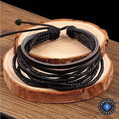 Adjustable Multilayer Leather Bracelet Cuff Black Bracelet