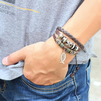 "Adjustable Multilayer Leather Ichthys ""Jesus Fish"" Bracelet Bracelet"