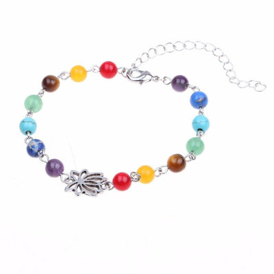 Adjustable Silver Lotus 7 Chakra Natural Stones Anklet Anklets