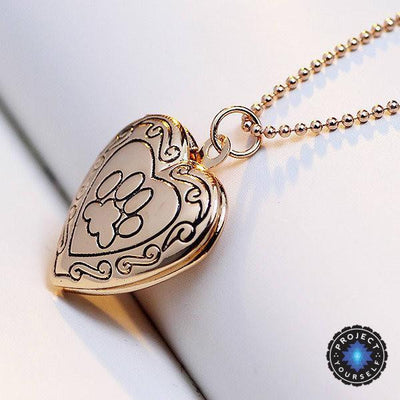 Adorable Engraved Paw Heart Locket Pendant Necklaces Gold color Necklace