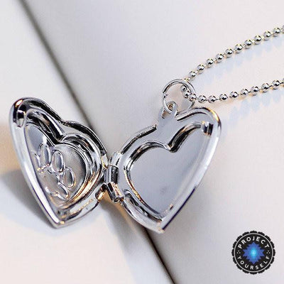 Adorable Engraved Paw Heart Locket Pendant Necklaces Necklace