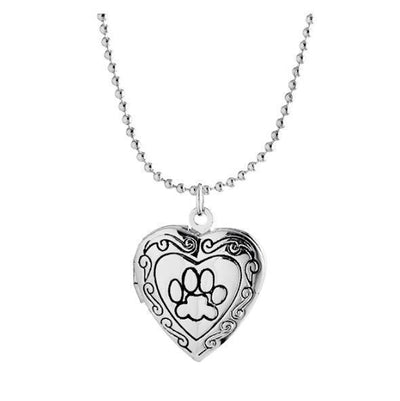 Adorable Engraved Paw Heart Locket Pendant Necklaces Silver color Necklace