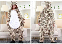 Adults Cartoon Animal Pajama Body Suits Leopard / S Costume