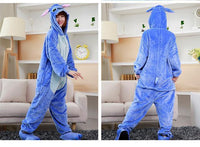Adults Cartoon Animal Pajama Body Suits Stitch Blue / S Costume