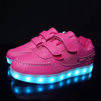 Adults & Kids LED Shoes Pink Double Strap / 11 Shoes