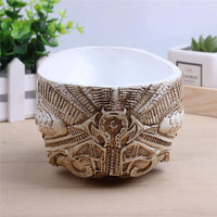 Alien Xenomorph Human Skull Resin Pot Decor