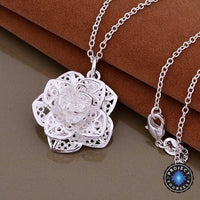 Amazing 925 Sterling Silver Lace Rose Pendant Necklace Necklace