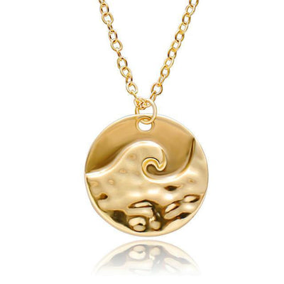 Amazing Rippled Wave Pendant Necklace Gold Necklace