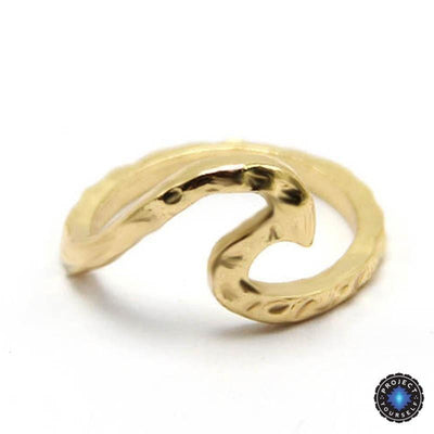 Amazing Rippled Wave Ring 7 / Gold Rings