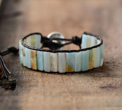 Amazonite Tranquility Leather Bracelet Dark Brown Bracelet