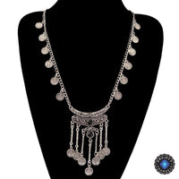 Antique Bohemian Silver Tassels Coin Necklace Black Necklace