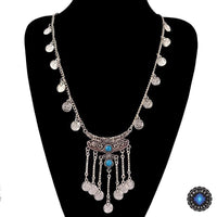 Antique Bohemian Silver Tassels Coin Necklace Blue Necklace