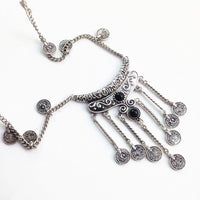 Antique Bohemian Silver Tassels Coin Necklace Necklace