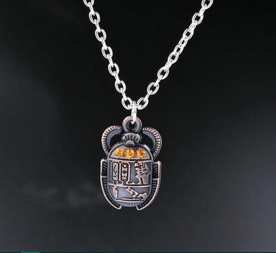 Antique Egyptian Scarab Rhinestone Necklace Necklace