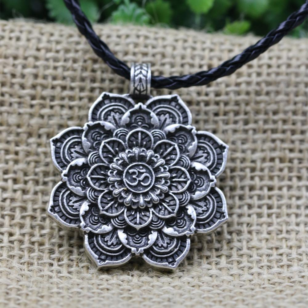 geometry flower necklace amulet jewelry tibet mandala retro pendant products spiritual langhong lotus religious zenshopworld