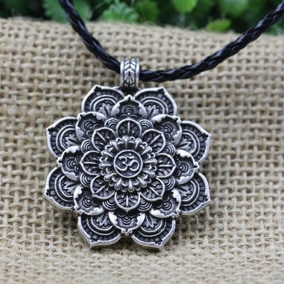Antique Silver Om Lotus Blossom Mandala Necklace Leather Cord Necklace