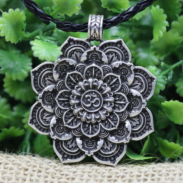Antique Silver Om Lotus Blossom Mandala Necklace Project