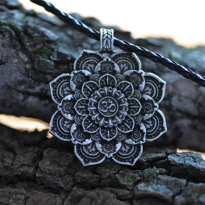 Antique Silver Om Lotus Blossom Mandala Necklace Necklace