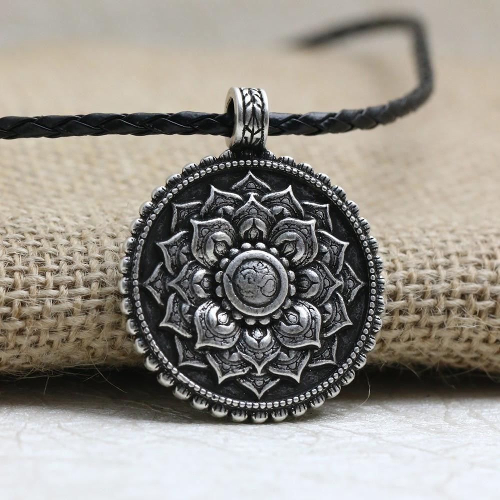 Antique silver om lotus mandala pendant necklace project yourself antique silver om lotus mandala pendant necklace necklace mozeypictures Images