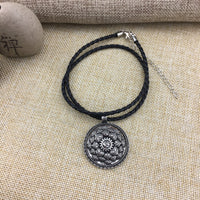Antique Silver Om Lotus Mandala Pendant Necklace Necklace