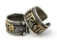 Antique Two Tone Tibetan 6 Syllable Mantra Open Ring Rings