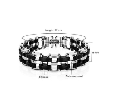 Awesome Stainless Steel Silicone Biker Bracelet Bracelet