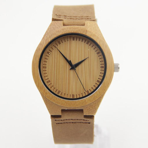 Bamboo Wooden Watches with Genuine Leather Strap Light Brown Watch