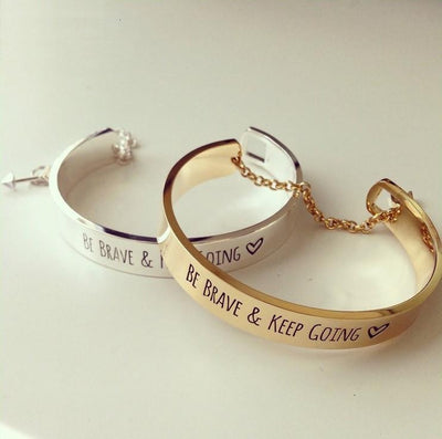"""Be Brave and Keep Going"" Inspirational Cuff Bracelet With Safety Chain Bracelet"