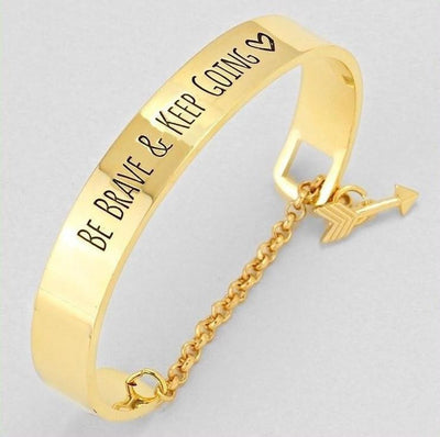 """Be Brave and Keep Going"" Inspirational Cuff Bracelet With Safety Chain Gold - Big Bracelet"