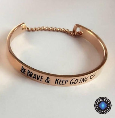 """Be Brave and Keep Going"" Inspirational Cuff Bracelet With Safety Chain Rose Gold - Small Bracelet"