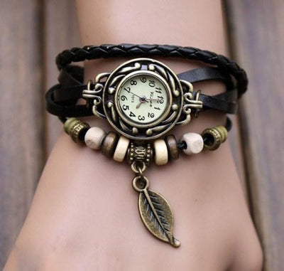 Beaded Woven Leather Layered Bracelet Watch Black Watch