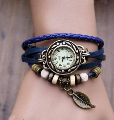 Beaded Woven Leather Layered Bracelet Watch Blue Watch