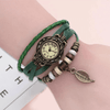 Beaded Woven Leather Layered Bracelet Watch Green Watch