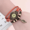 Beaded Woven Leather Layered Bracelet Watch Orange Watch
