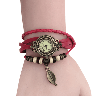 Beaded Woven Leather Layered Bracelet Watch Rose Watch