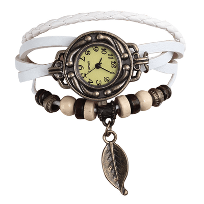 Beaded Woven Leather Layered Bracelet Watch White Watch